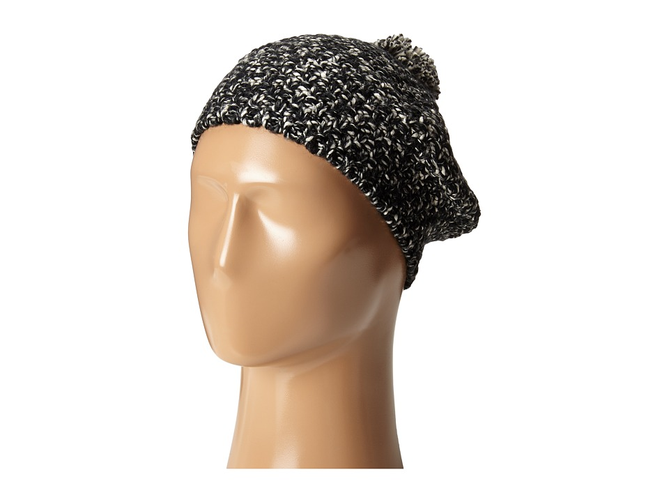 Hat Attack - Tweed Knit Beret with Pom (Black Tweed) Berets