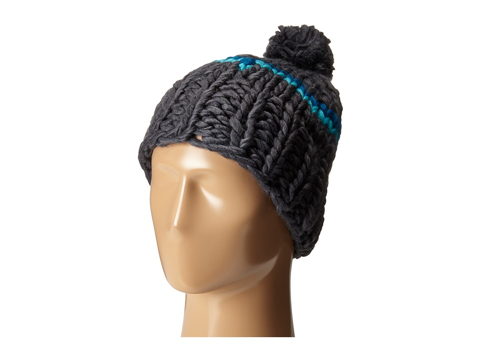 Hat Attack - Neon Stripe Skully with Pom (Charcoal/Turquoise) Caps