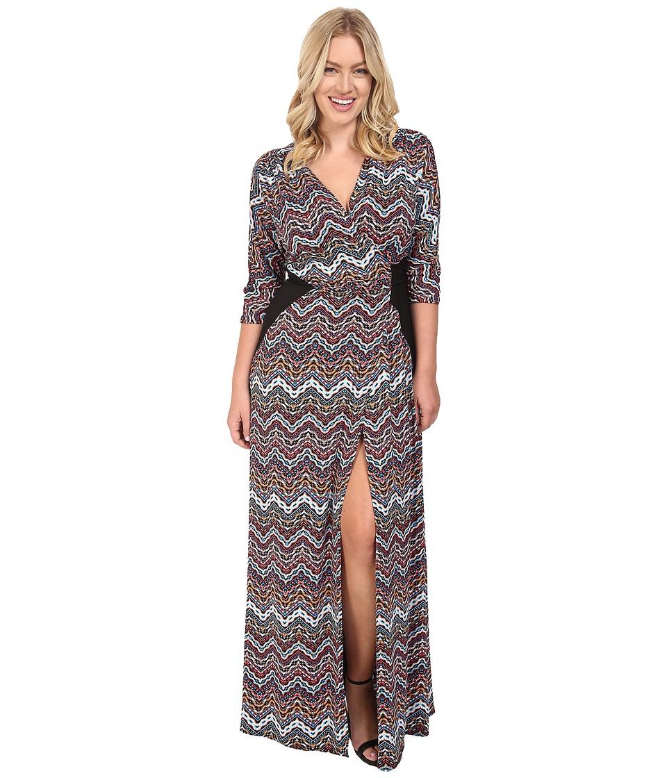 Kiyonna - Morrocan Majesty Maxi Dress (Chevron Mix Print) Women's Dress