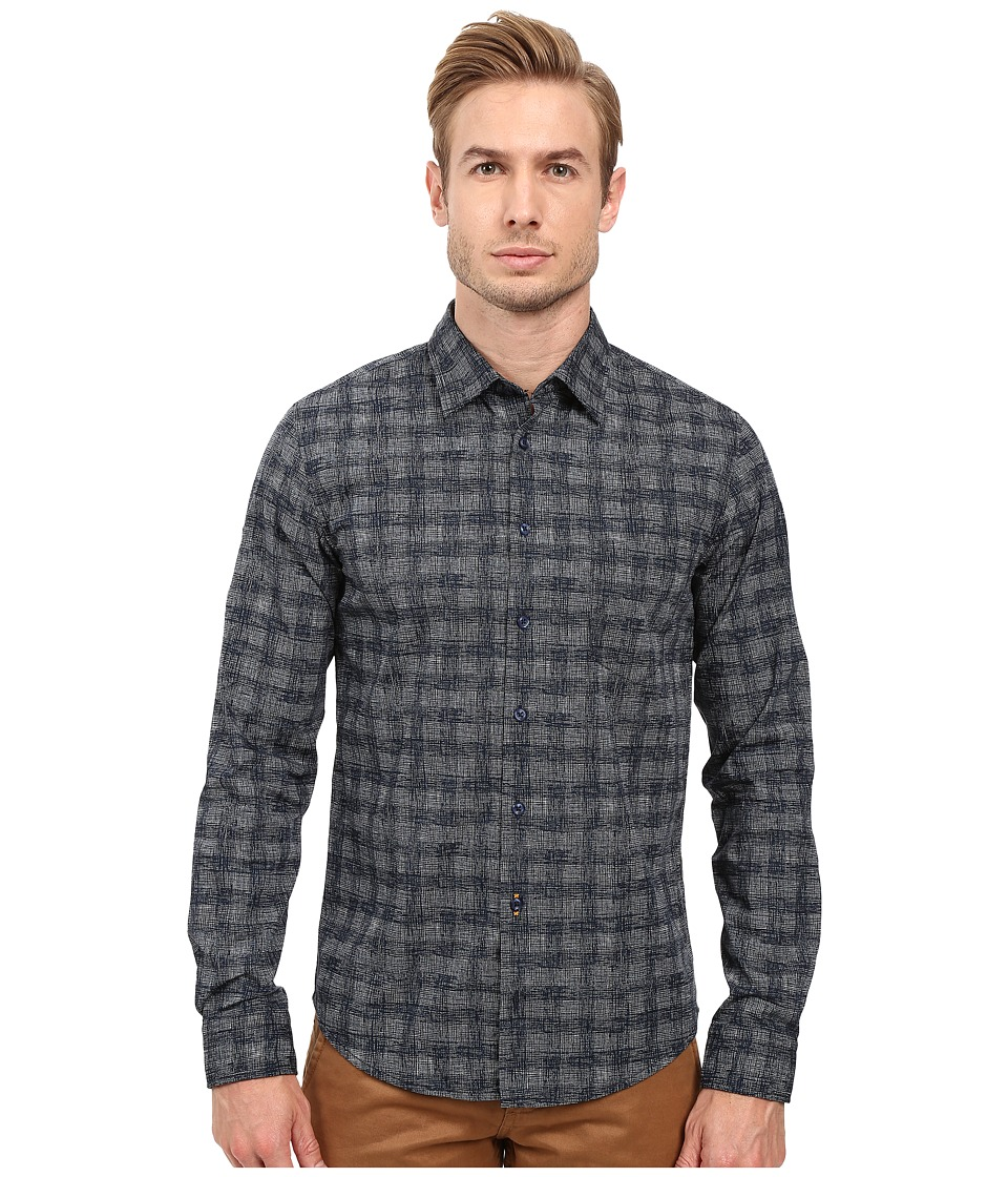 BOSS Orange - Enamee Plaid Shirt (Navy) Men's Long Sleeve Button Up