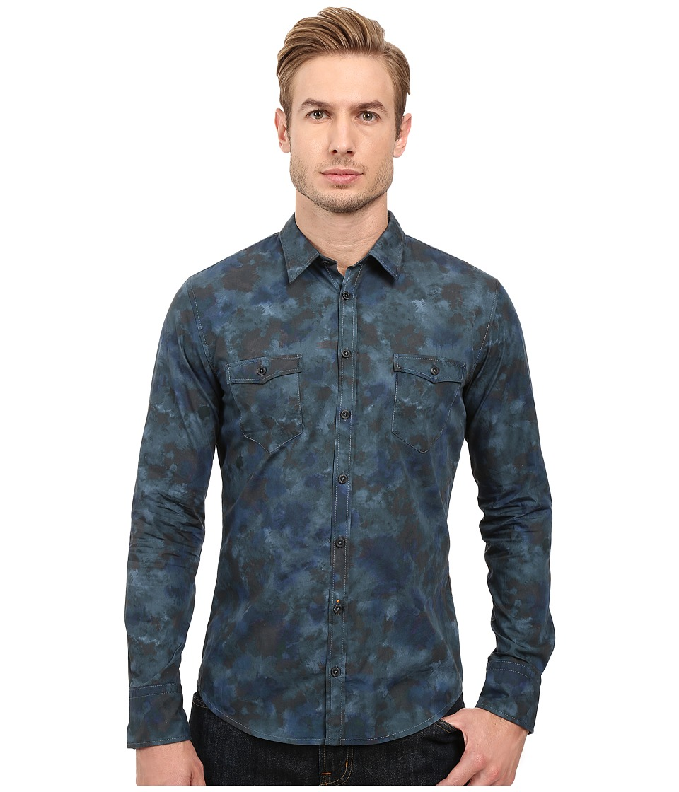 BOSS Orange - Edoslime Water Color Print Shirt (Navy) Men's Long Sleeve Button Up
