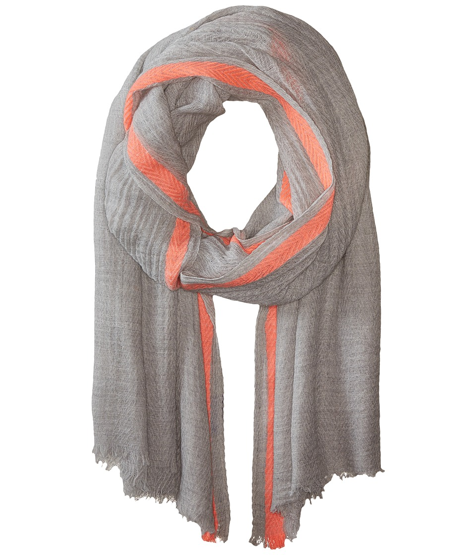 Hat Attack - Color Border Scarf (Light Grey/Neon Pink) Scarves