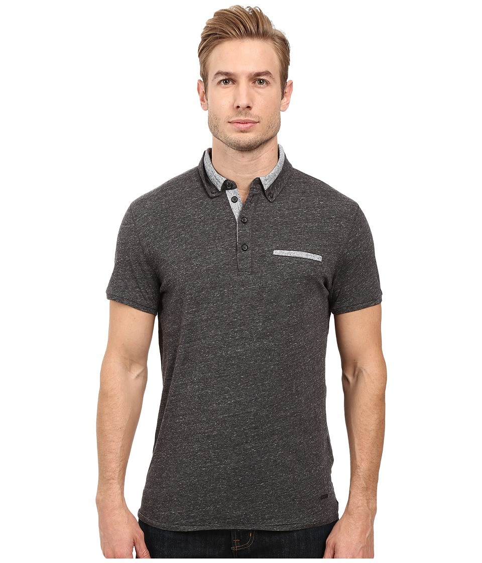 BOSS Orange - PYX Short Sleeved Polo (Black) Men's Short Sleeve Pullover