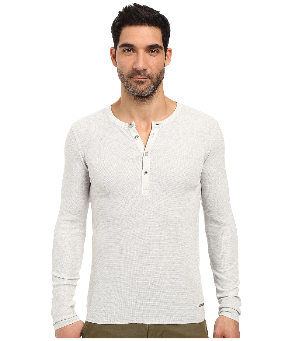 BOSS Orange - Topsider Heather Waffle Henley (Grey) Men's Clothing