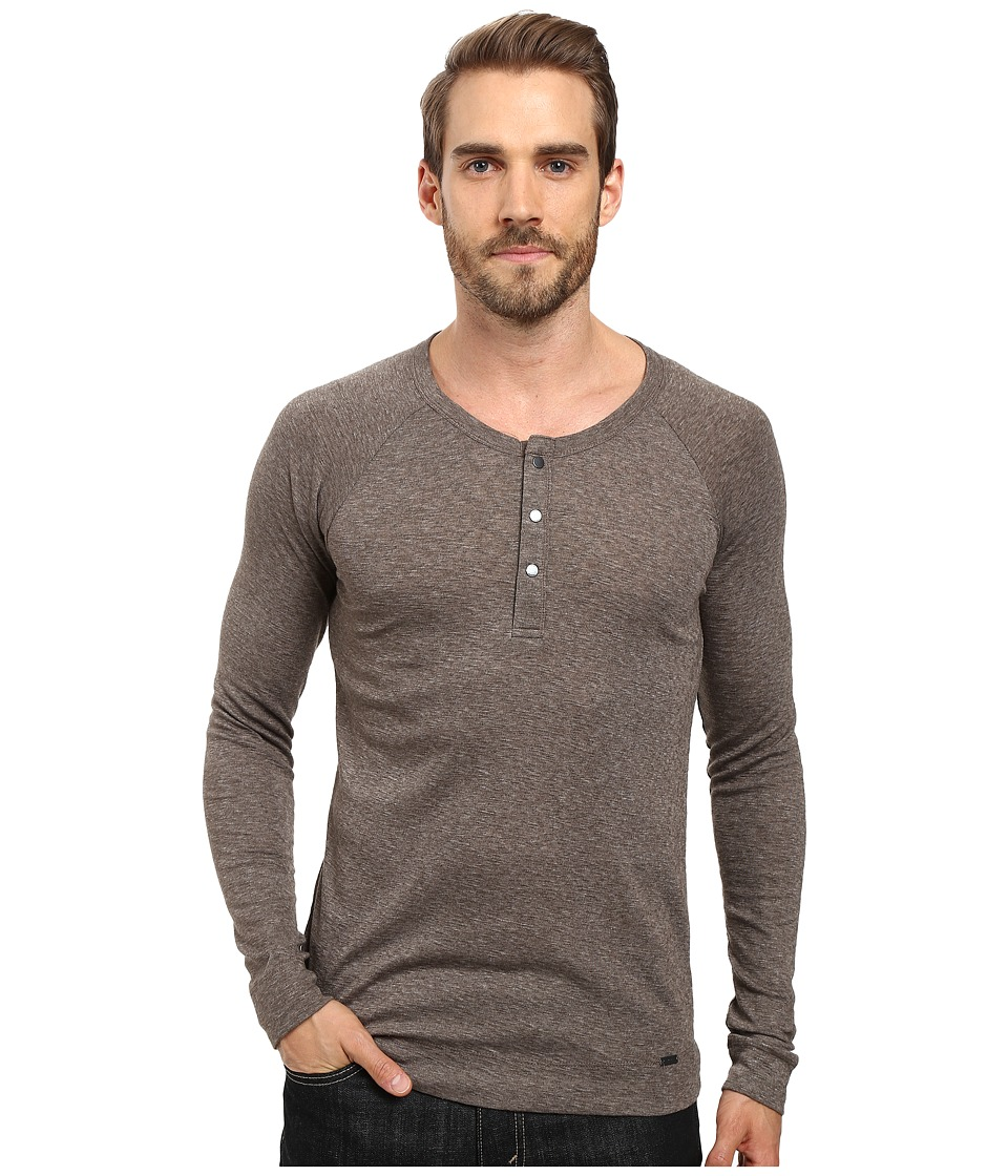 BOSS Orange - Tambow Melange Rib Henley (Green) Men's Clothing