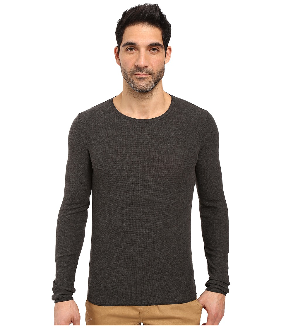 BOSS Orange - Terris 1 Long Sleeve Heather Waffle T-Shirt (Grey) Men's T Shirt