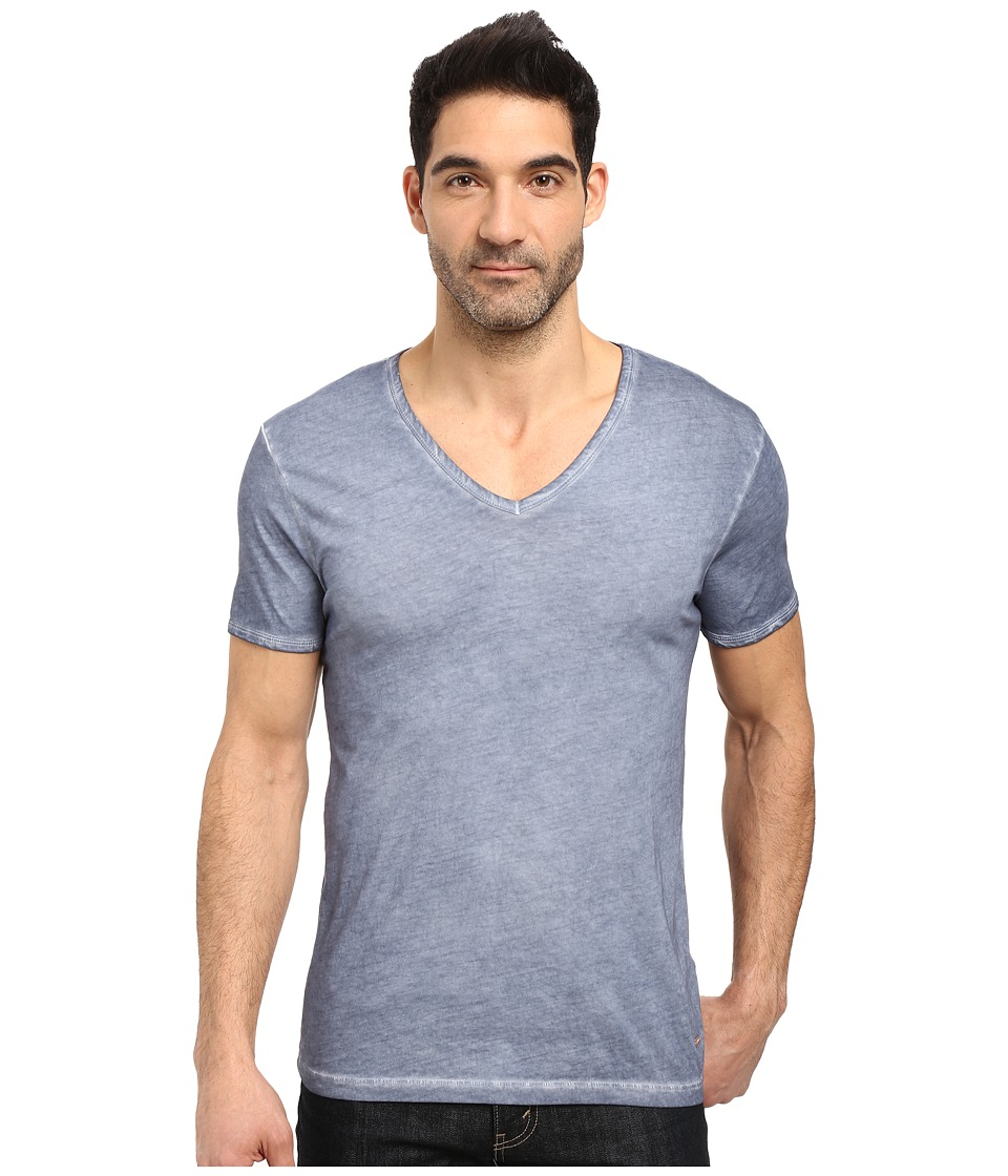 BOSS Orange - Toulouse Fashion Fit Garment Dyed Jersey V-Neck Tee (Blue) Men's Short Sleeve Pullover