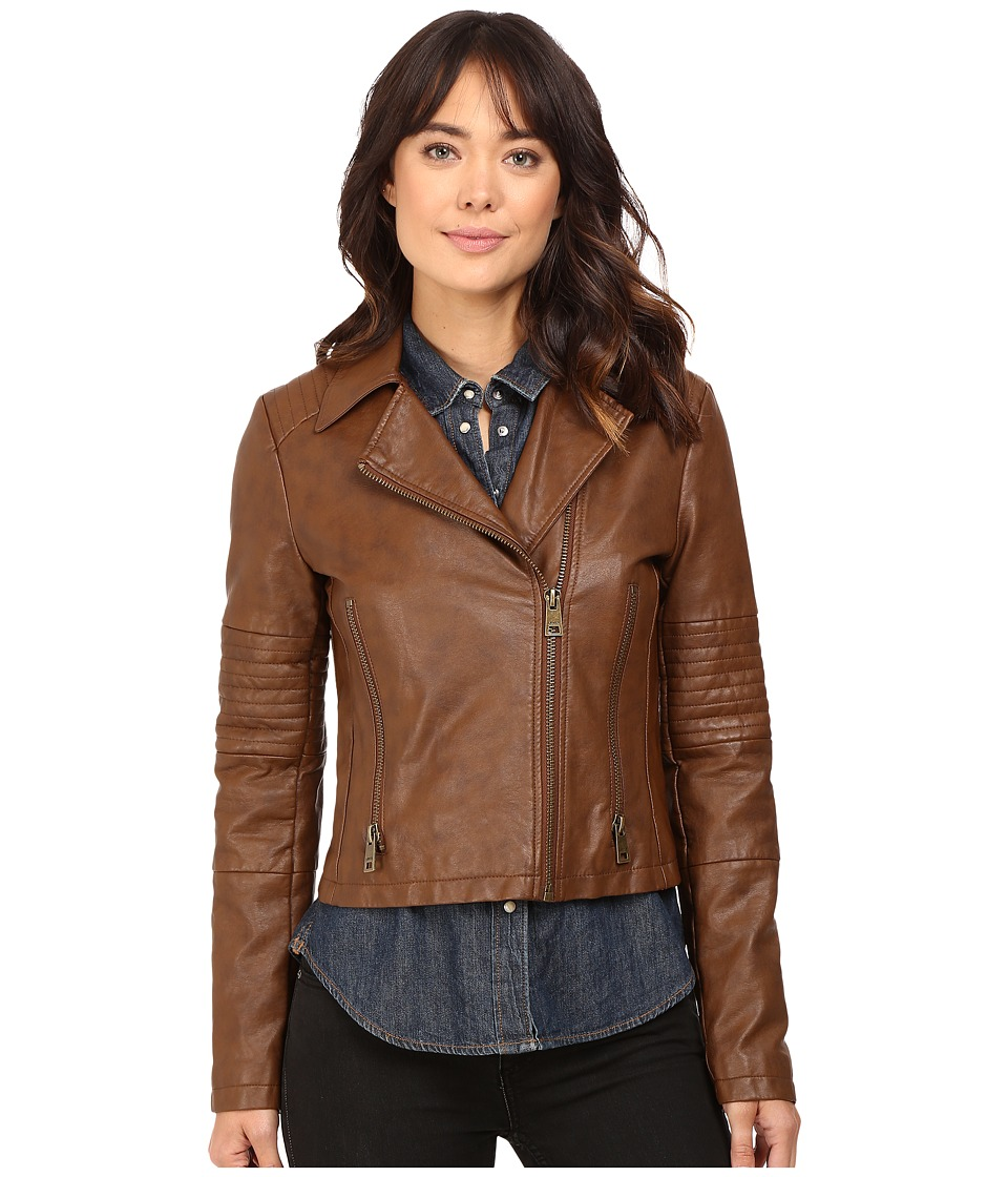 Levi's(r) - Faux Leather Asymmetrical Motorcycle Jacket with Quilted Arms (Cognac) Women's Coat