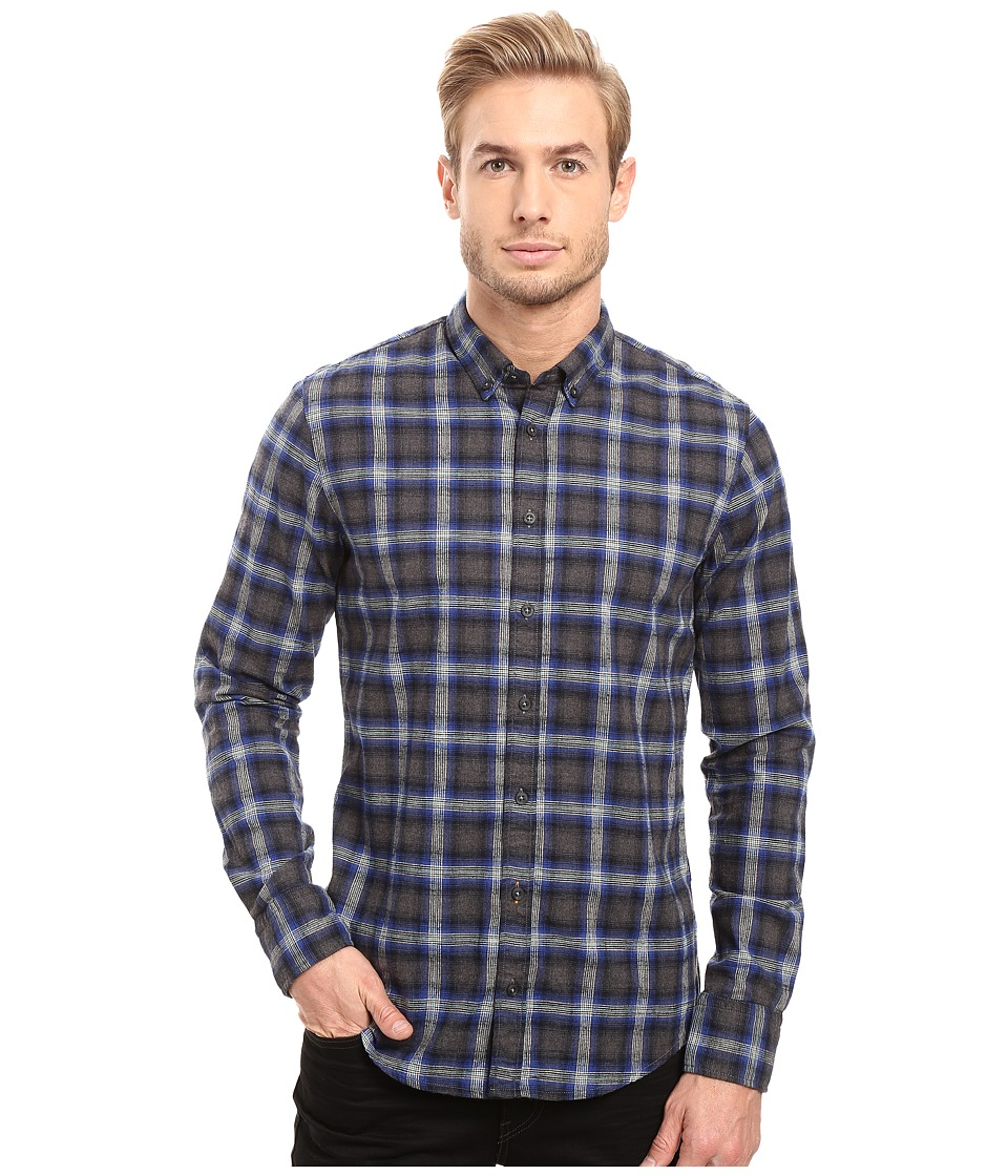 BOSS Orange - Edipoe Plaid Long Sleeved Shirt (Blue) Men's Clothing