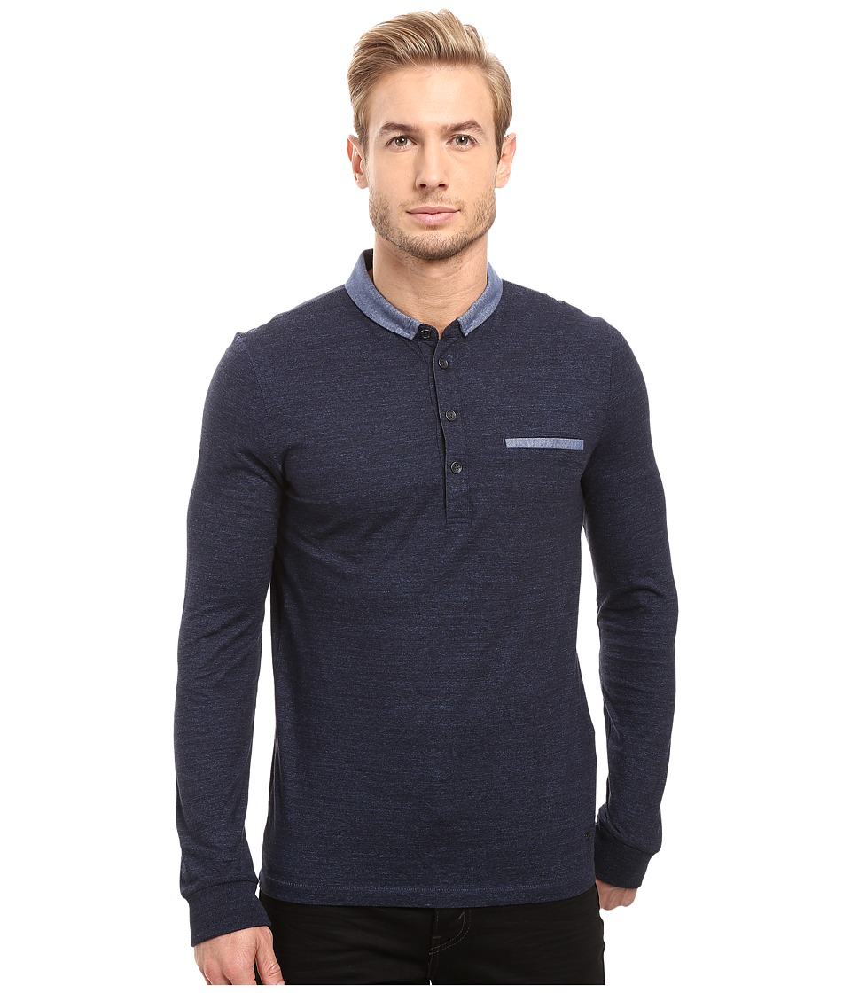BOSS Orange - Patcherman 1 Long Sleeved Polo (Blue) Men's Long Sleeve Pullover