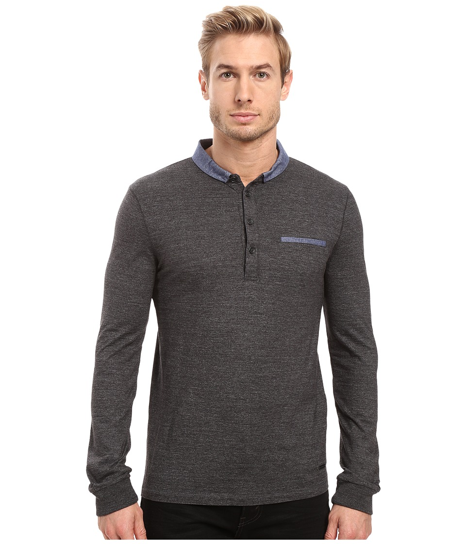BOSS Orange - Patcherman 1 Long Sleeved Polo (Black) Men's Long Sleeve Pullover