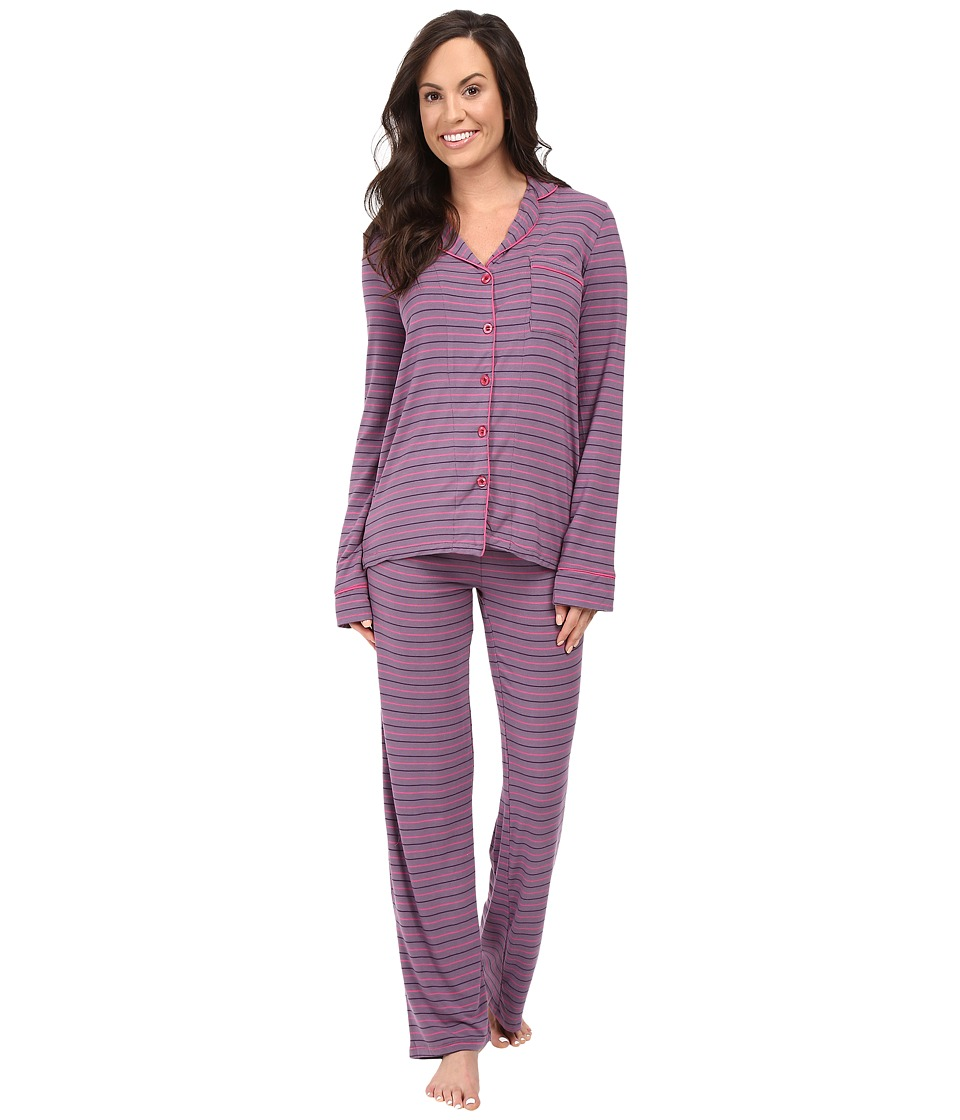 P.J. Salvage - Bella Stripe PJ Set (Grape) Women's Pajama Sets