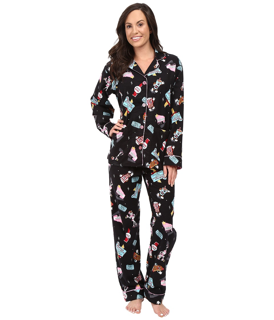 P.J. Salvage - Drive in Lily Frenchie PJ Set (Black) Women's Pajama Sets