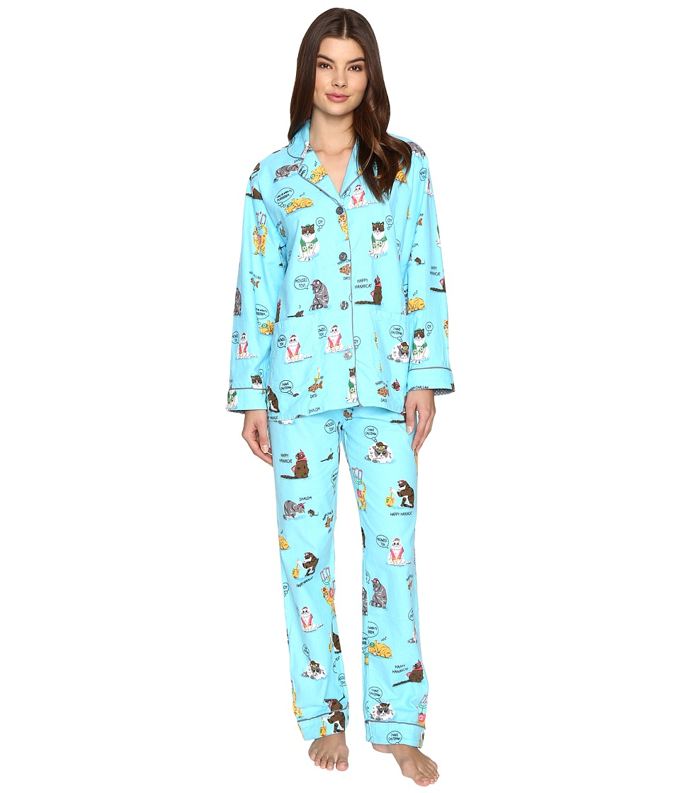 P.J. Salvage - Hanukkah Cats Flannel PJ Set (Sky) Women's Pajama Sets
