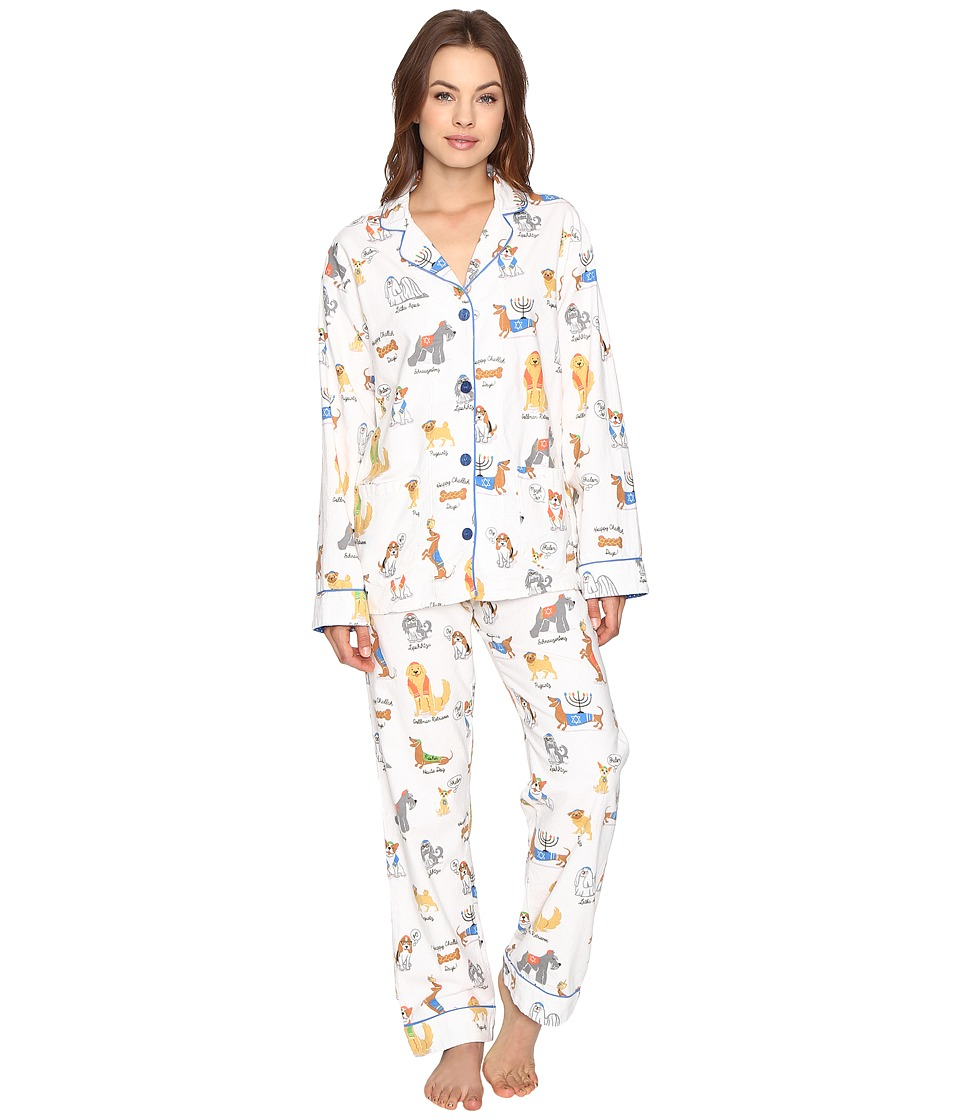 P.J. Salvage - Hanukkah Dogs Flannel PJ Set (Ivory) Women's Pajama Sets