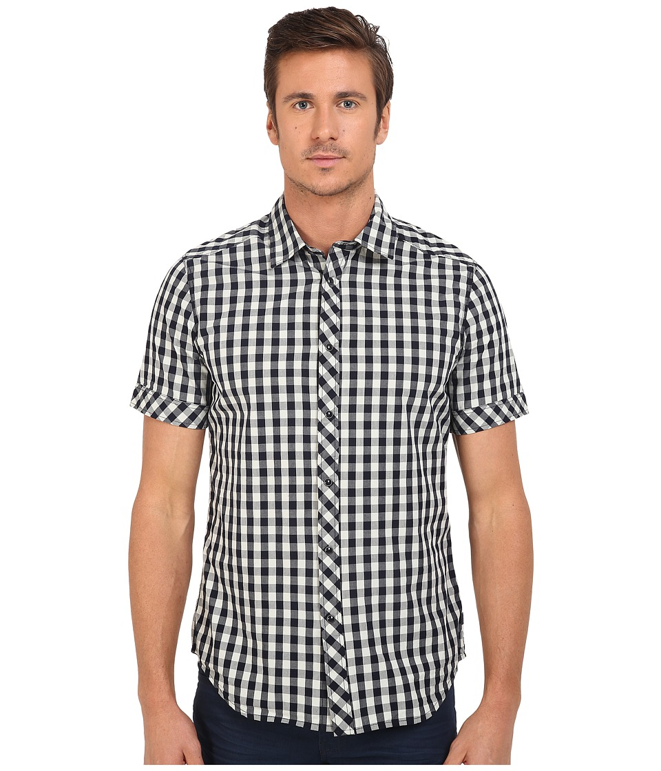 G-Star - Landoh Clean Short Sleeve Shirt in Gingham Poplin Check (Soft Blue/Sartho Blue Check) Men's Clothing