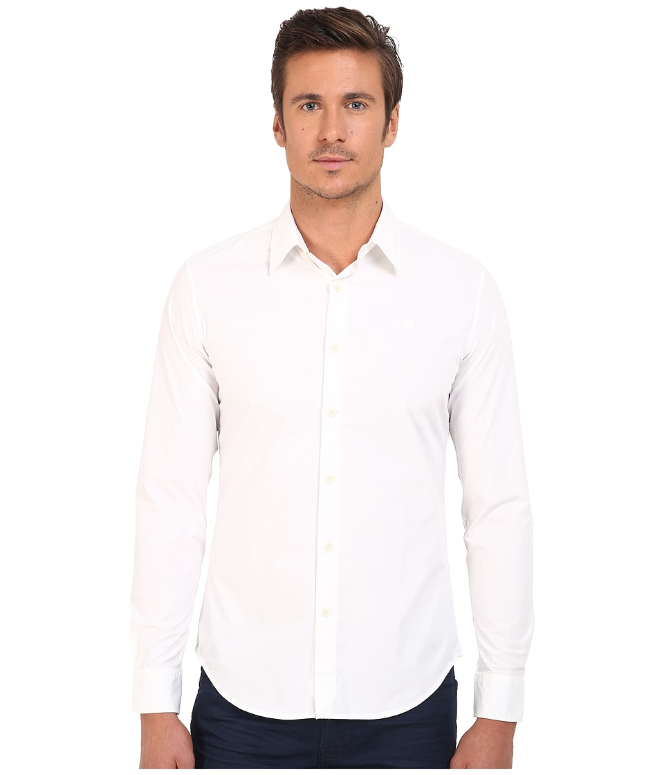 G-Star - Core Long Sleeve Button Up in Atton Stretch Poplin (White) Men's Long Sleeve Button Up