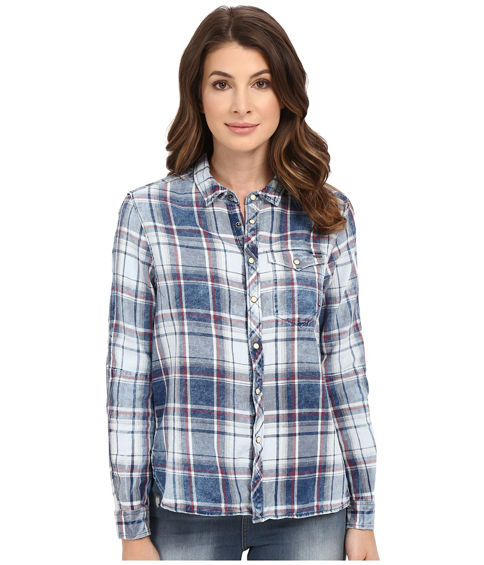 G-Star - Tacoma One-Pocket Boyfriend Shirt in Indigo Lirt Flannel Check (Indigo/Burgundy Check) Women's Clothing