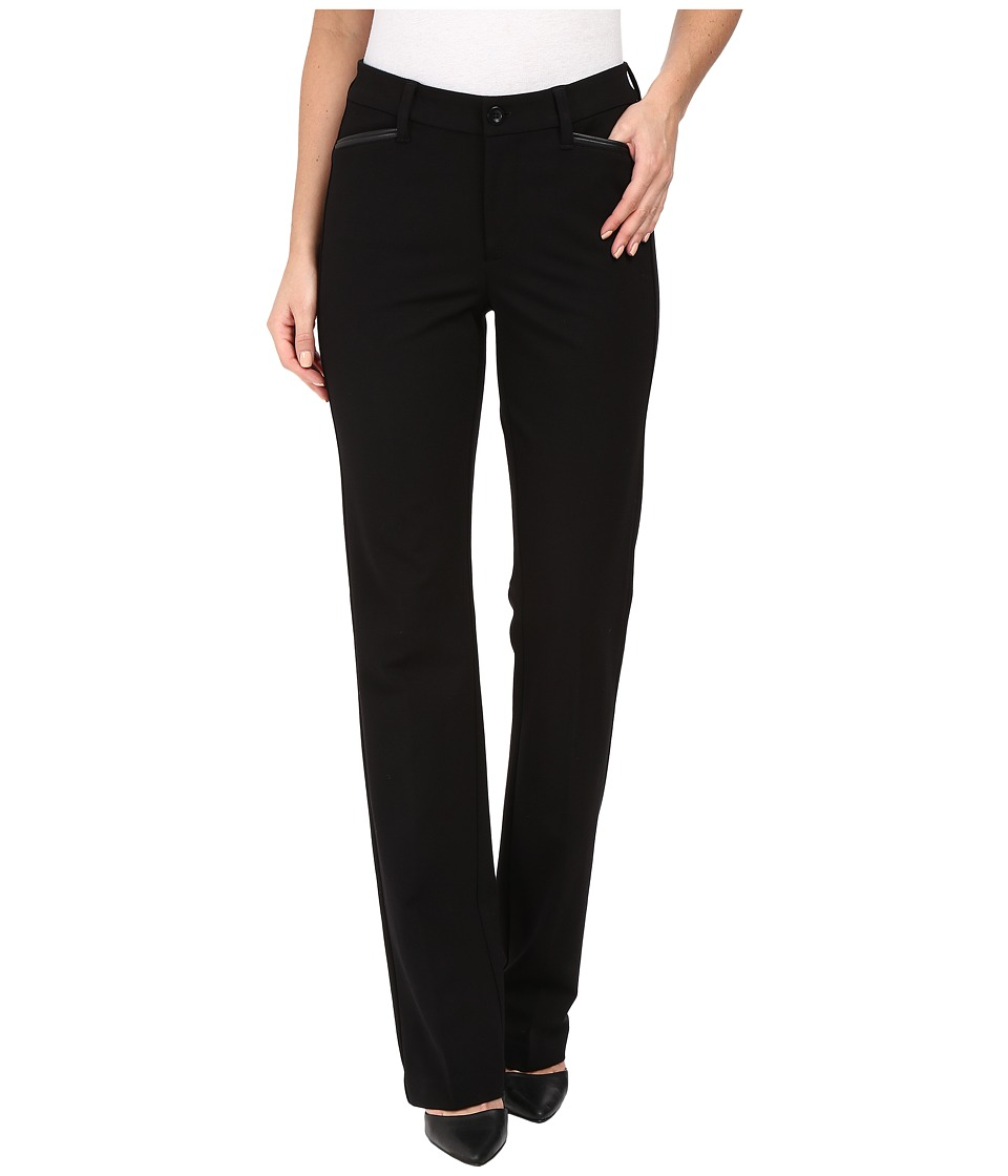 NYDJ - Marilyn Straight Pants in Ponte Knit w/ Faux Leather Trim (Black) Women's Casual Pants