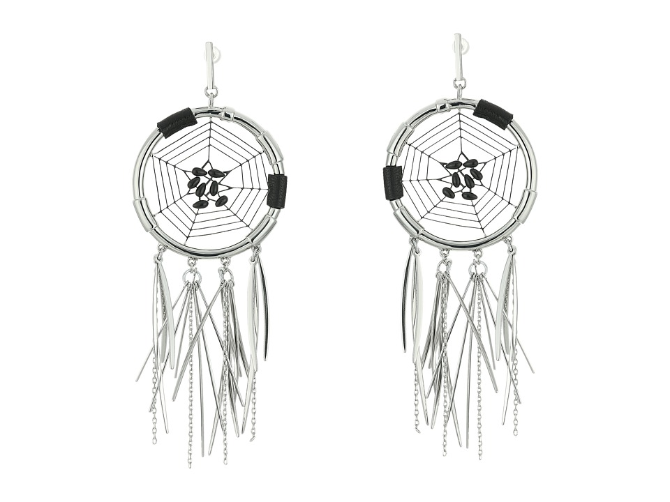 Rebecca Minkoff - Large Dream Catcher Earrings (Rhodium/Black) Earring