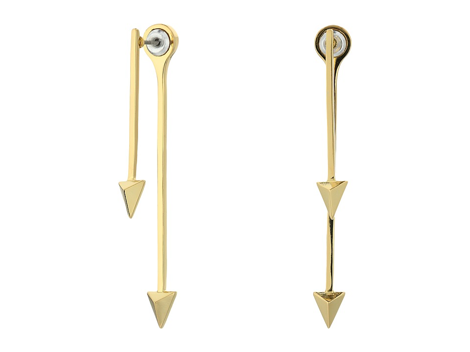 Rebecca Minkoff - Spiked Front Back Drop Earrings (Gold) Earring