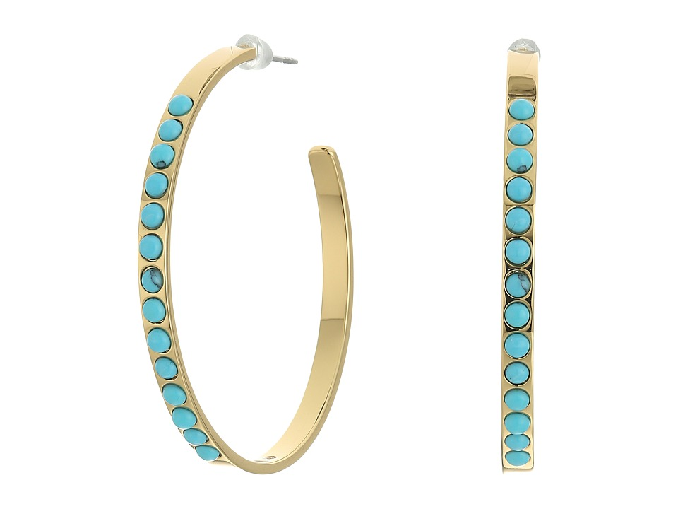 Rebecca Minkoff - Beaded Hoop Earrings (Gold/Turquoise) Earring