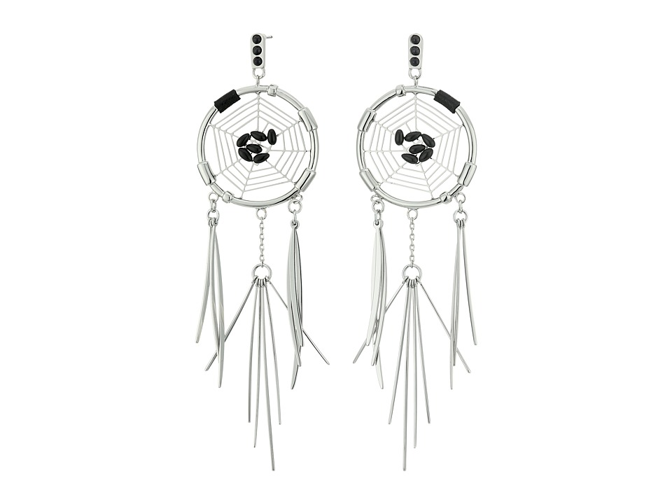 Rebecca Minkoff - Small Dream Catcher Earrings (Rhodium/Black) Earring