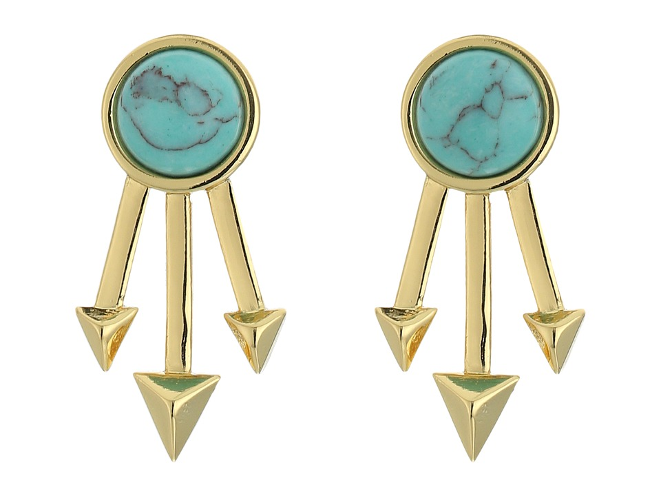 Rebecca Minkoff - Spiked Fan Stud Earrings (Gold/Turquoise) Earring