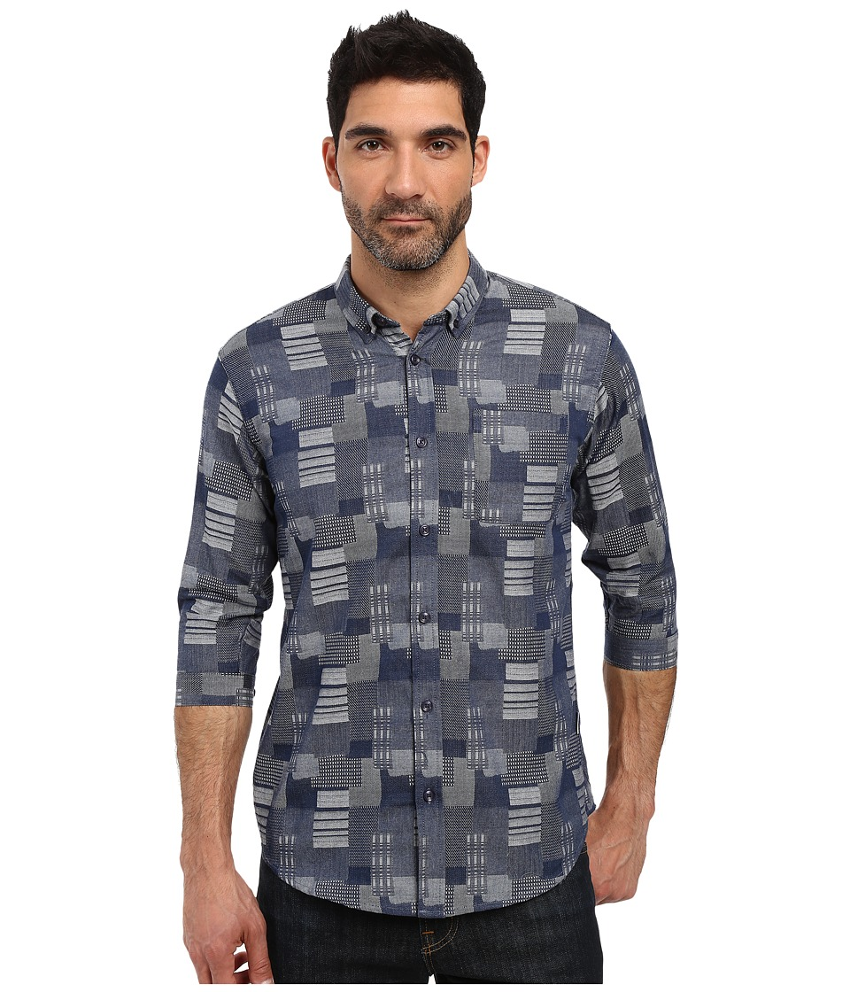Publish - Stanton - 3/4 Sleeve Full Button Up (Navy) Men's Short Sleeve Button Up