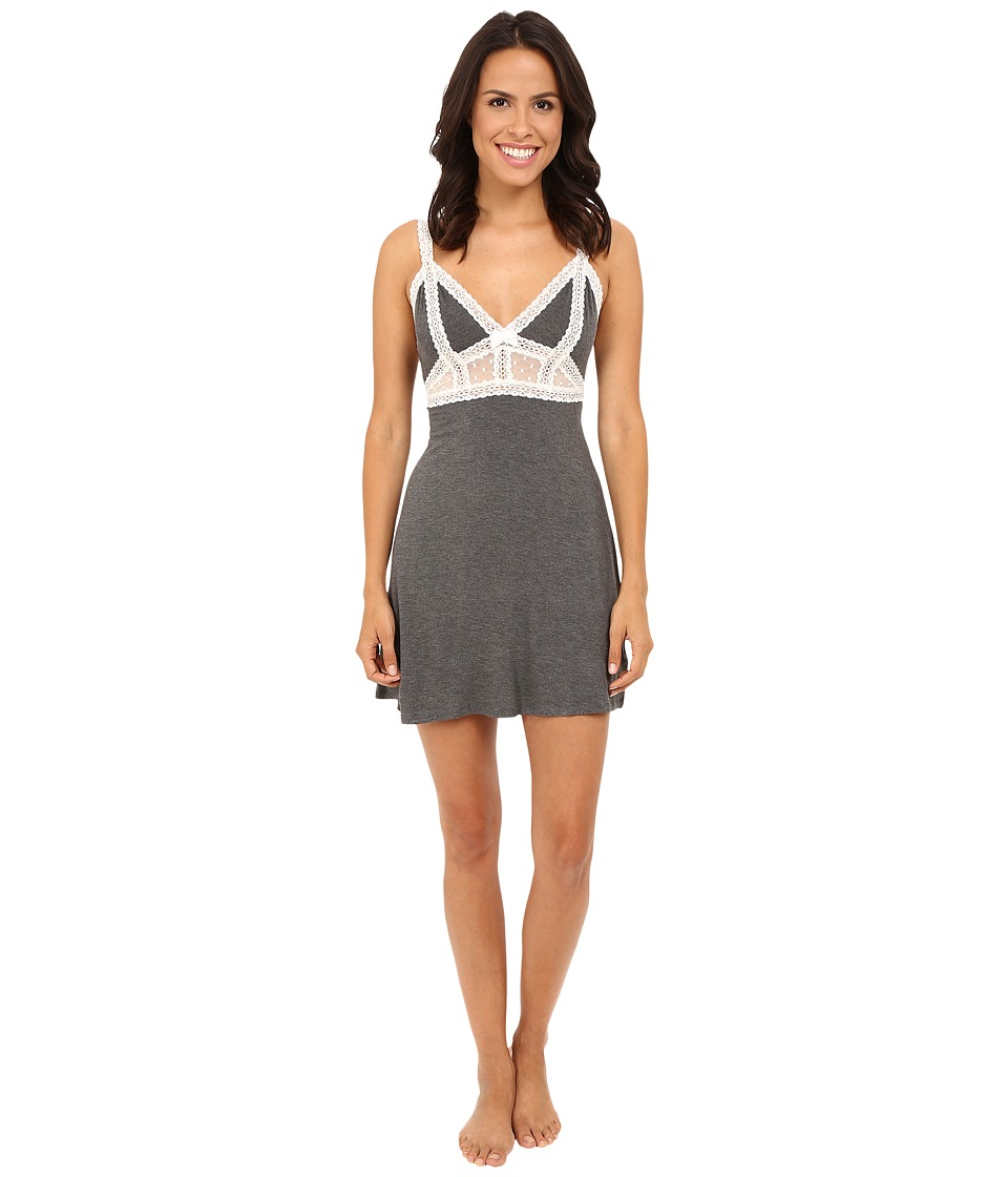 Betsey Johnson - Rayon Span Dot Slip (Charcoal Heather) Women's Pajama