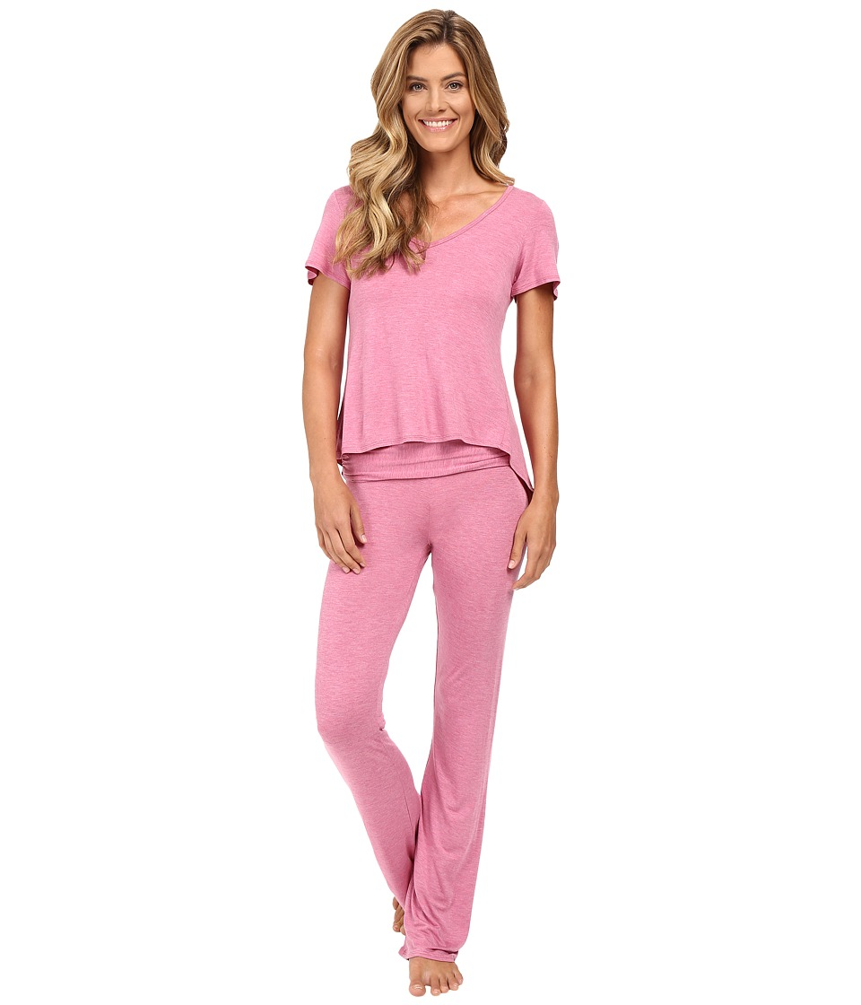 Betsey Johnson - Heather Rayon Span Ruffle Tee Pajamas (Cherry Pie Heather) Women's Pajama Sets