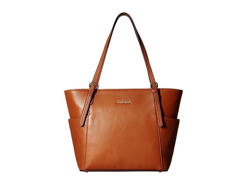 Calvin Klein - Pebble Leather Tote (Luggage) Tote Handbags