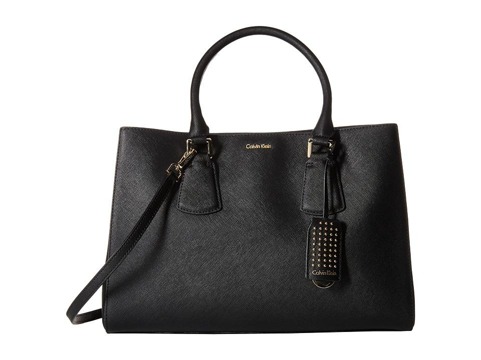 Calvin Klein - Kate Saffiano Satchel (Black) Satchel Handbags