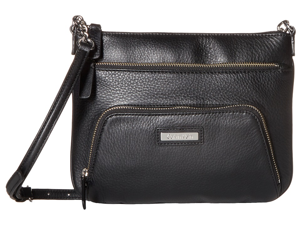 Calvin Klein - Key Item Pebble Leather Crossbody (Black/Silver) Cross Body Handbags