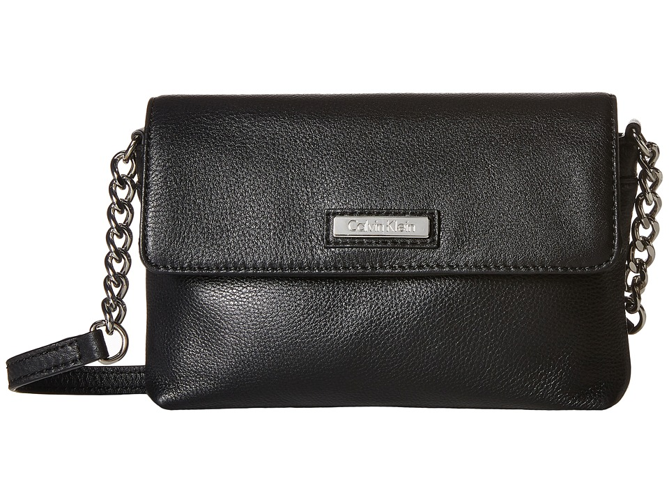 Calvin Klein - Key Item Pebble Leather Crossbody (Black) Cross Body Handbags