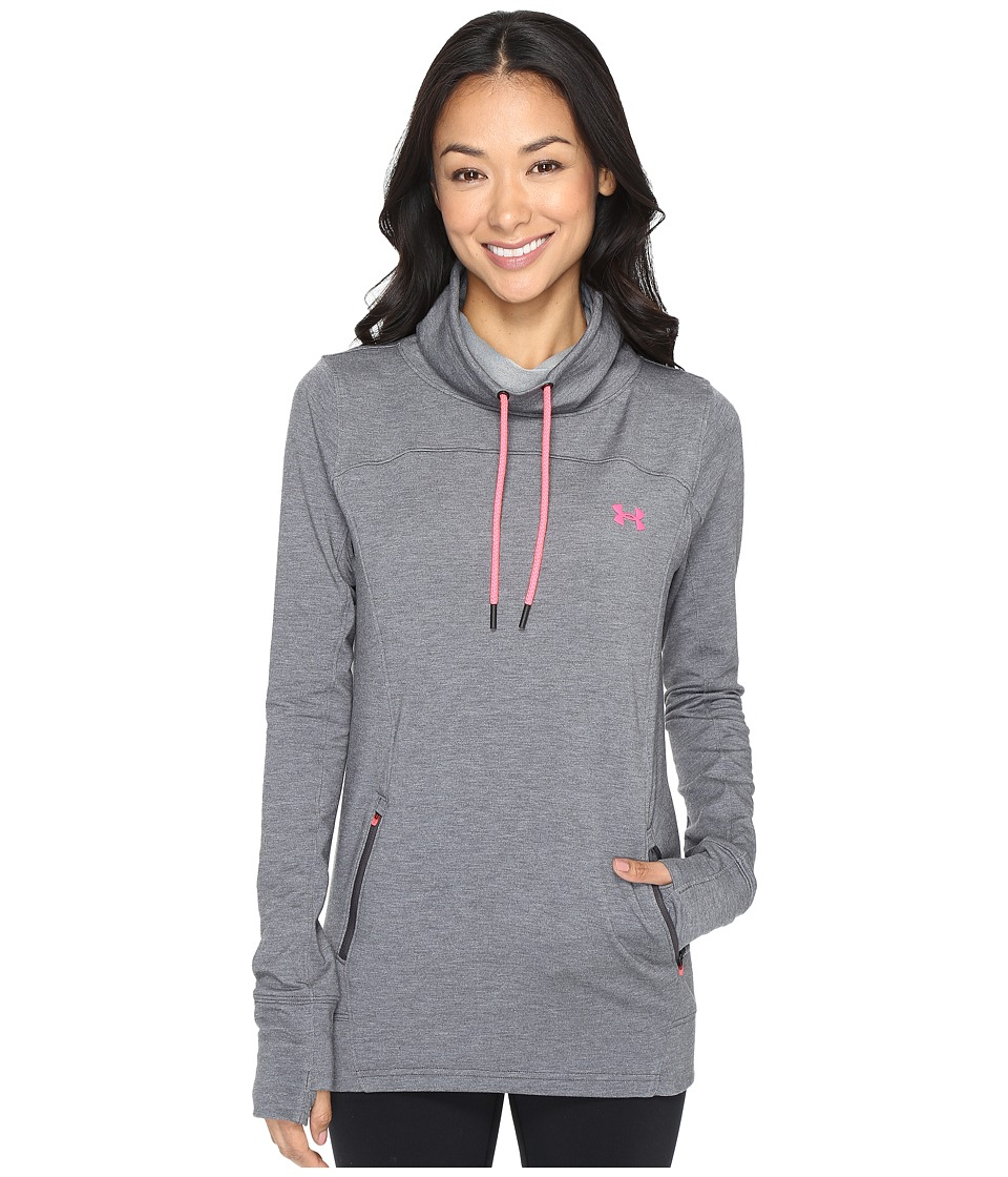 Under Armour - Featherweight Fleece Slouchy (Carbon Heather/Pink Shock/Pink Shock) Women's Fleece