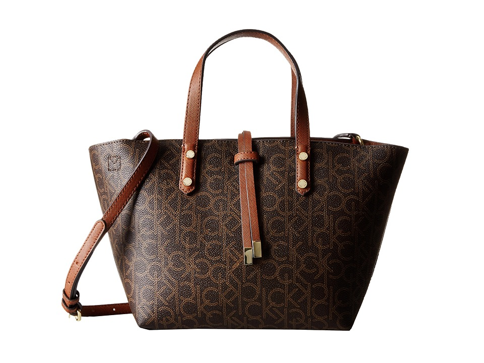 Calvin Klein - Reversibles Monogram Crossbody (Brown/Khaki/Luggage Saffiano) Cross Body Handbags