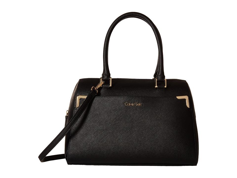 Calvin Klein - On My Corner Saffiano Leather Satchel (Black) Satchel Handbags