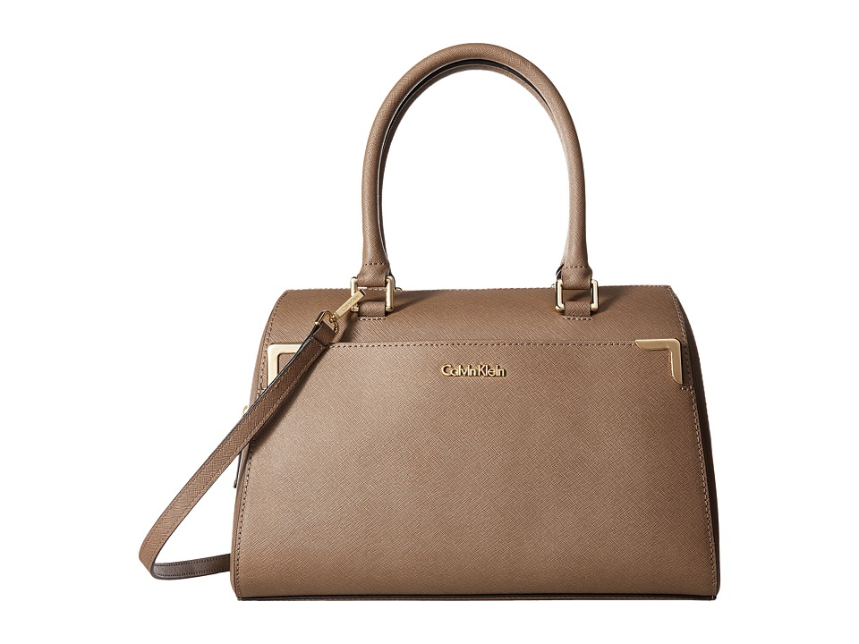 Calvin Klein - On My Corner Saffiano Leather Satchel (Dark Taupe) Satchel Handbags