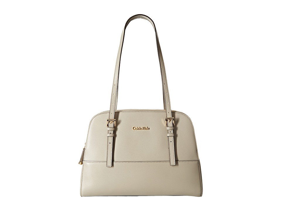 Calvin Klein - Claudia Glazed Leather Satchel (Stone) Satchel Handbags