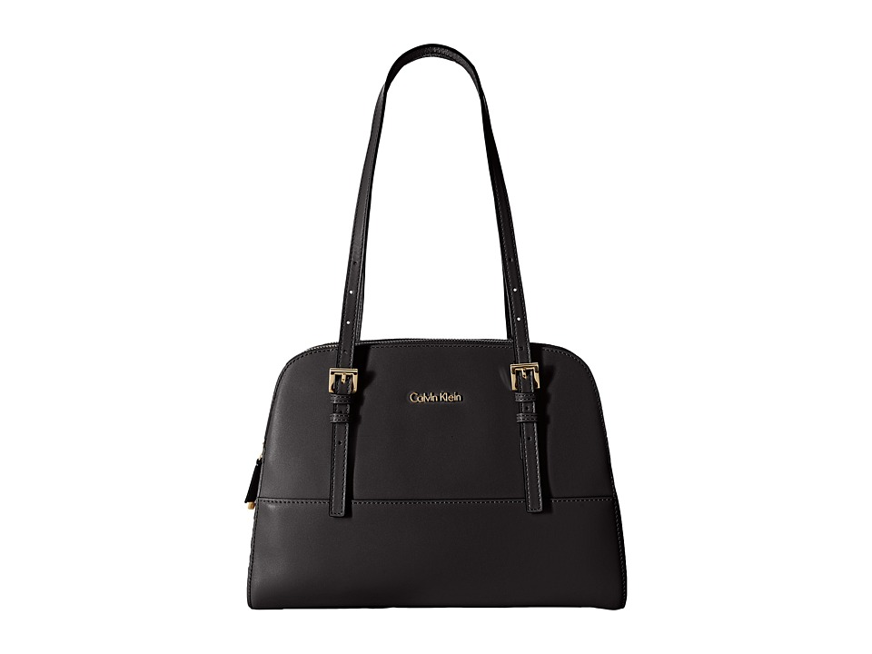 Calvin Klein - Claudia Glazed Leather Satchel (Black/Gold) Satchel Handbags