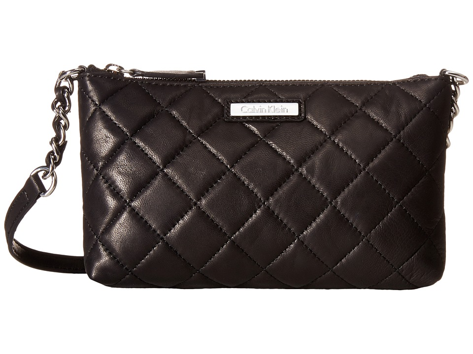 Calvin Klein - Chelsea Quilted Leather Crossbody (Black/Silver) Cross Body Handbags