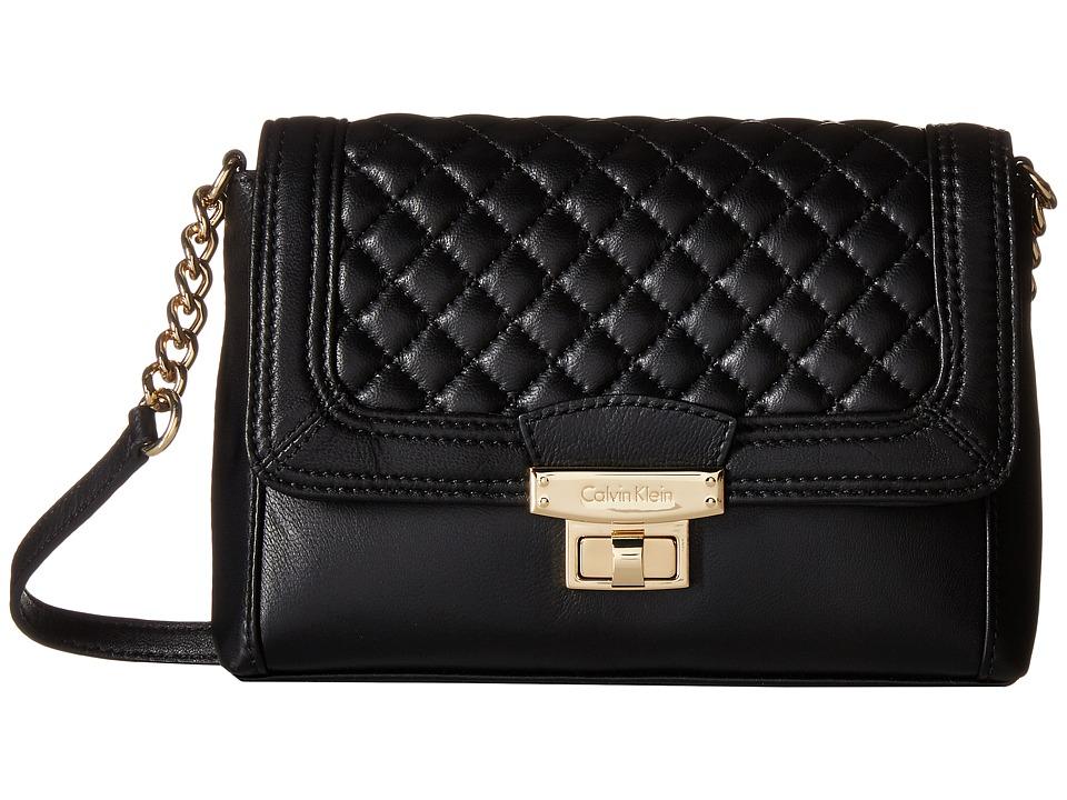 Calvin Klein - Chelsea Quilted Lamb Crossbody (Black/Gold) Cross Body Handbags