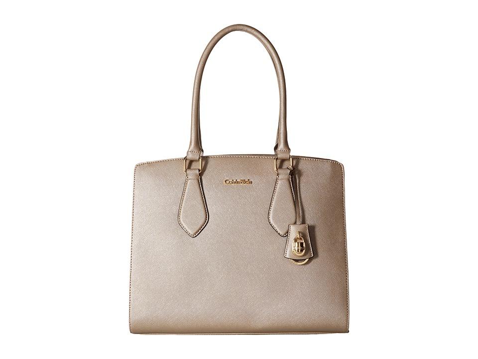 Calvin Klein - Modena Saffiano Tote (Metallic Taupe) Tote Handbags