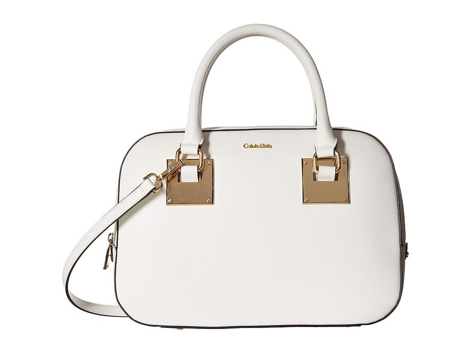Calvin Klein - Emma Saffiano Satchel (White) Satchel Handbags