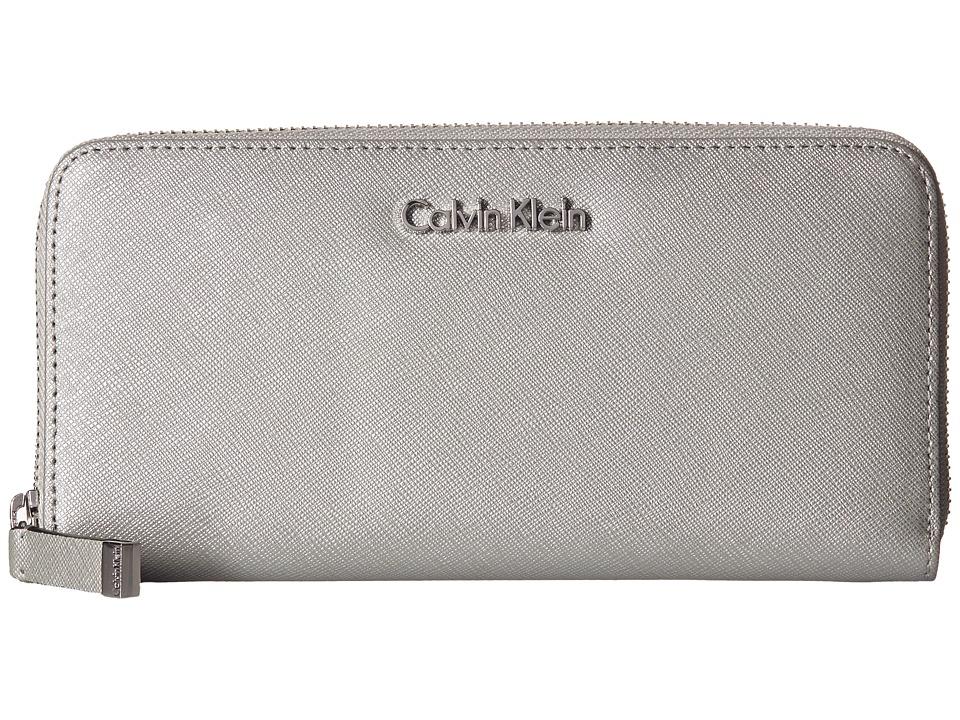 Calvin Klein - Saffiano Zip Continental (Smoky Silver) Continental Wallet