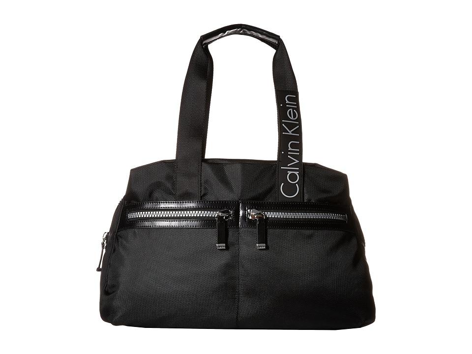 Calvin Klein - CKP Ballistic Nylon Satchel (Black/White) Satchel Handbags