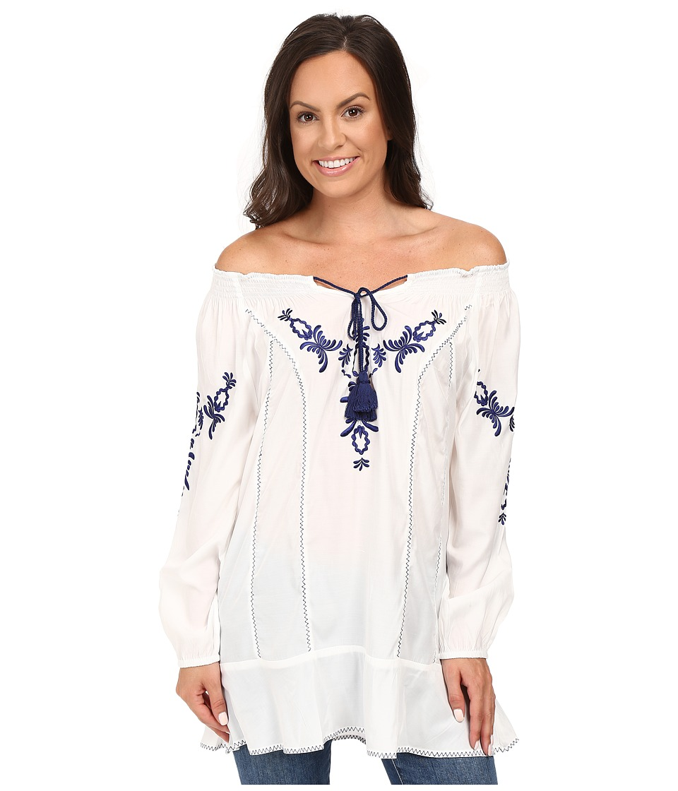 Union of Angels - India Tunic (White/Navy) Women's Blouse