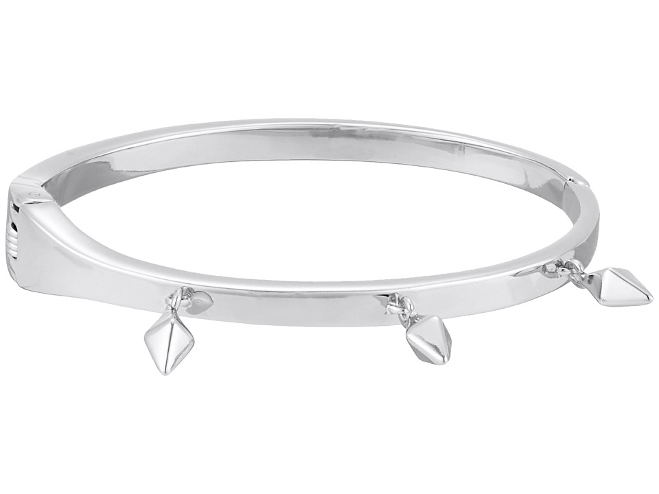 Rebecca Minkoff - Stud Charm Hinge Bangle (Rhodium) Bracelet