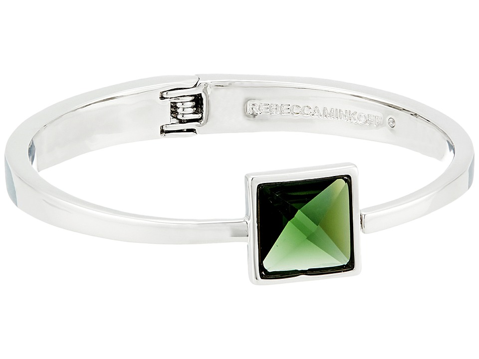 Rebecca Minkoff - Stone Hinge Bangle (Rhodium/Green) Bracelet